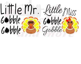little gobble mr. and miss svg dxf and png files