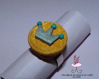 Ring jewelry, frangipane cake gourmet fimo