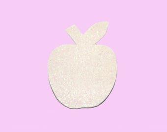 Large brooch Apple white glitter