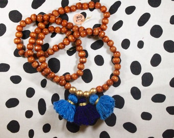 Bright Blue and Dark Blue Three Tassel Necklace