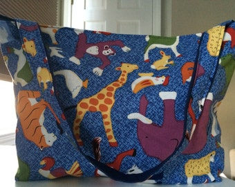 Reversible Zoo Animals Tote Bag SHIPS FREE
