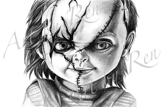 Items Similar To Printable Drawing Of Chucky Doll From