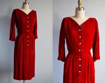 Papillon Rouge velvet dress - vintage 1950s red wiggle dress - 50s hourglass party dress