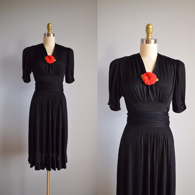Victory Girl dress vintage 1940s ruched black swing dress 40s v neck puff sleeve dress
