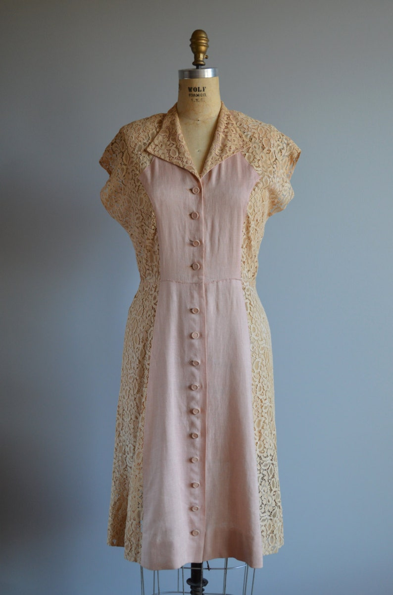 48bcee77ef7 Albertine Rose dress vintage 1950s pale pink linen   lace