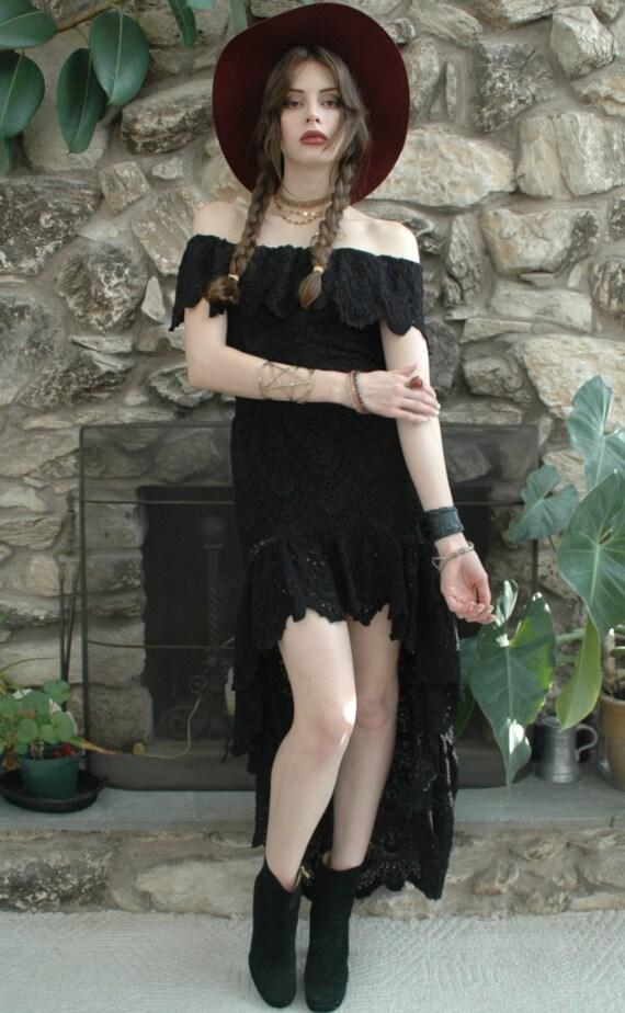Black lace bohemian dress