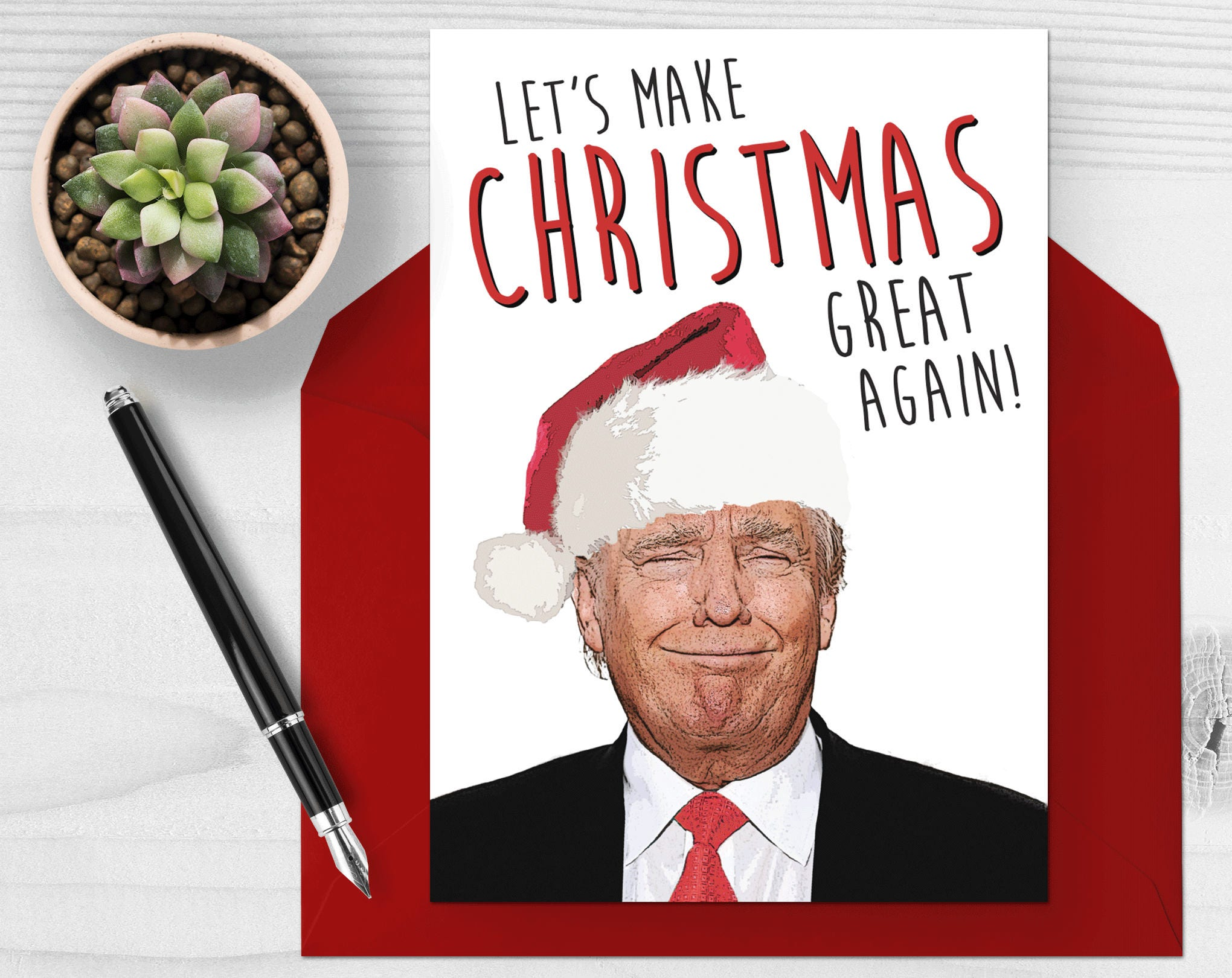 donald trump christmas card lets make christmas great etsy