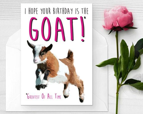 Baby Goat Birthday Card Funny I Love Goats