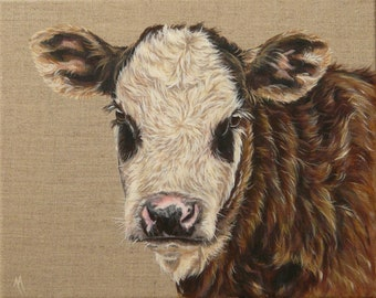 Original Canvas by Alison Armstrong - Farm Animal Cow Painting - Hereford Cross Calf