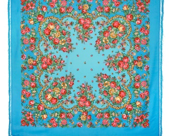 "Shawl Russian 57""Winter Wool Folk Scarf 100% Silk fringes 146cm Blue Azure Pink Red Roses Pavlovo Posad"