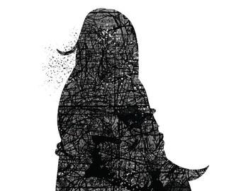 Comic Overlay Silhouette Print