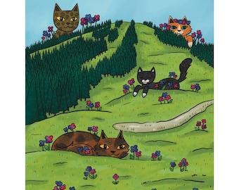 Red Meowntain (Red Mountain, BC, Canada)   Landscape Art Print   Canadian Landscape   Gift for Cat Lovers   Kootenay Art   Rossland BC