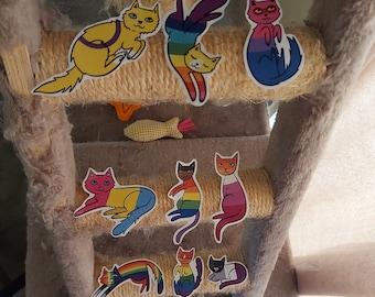 Pride Flag Cat Stickers   Cute Cat Gift   Subtle Pride Sticker