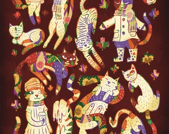 Cats of the Autumn Equinox   Cute Cat Art   Gift for Cat Lovers