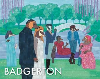 Badgerton   Bridgerton Parody   Badger Parody   TV Show Art   Badger Art   Funny Badger Gift