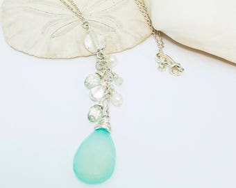 Natural Chalcedony and Aquamarine Sterling Silver Necklace