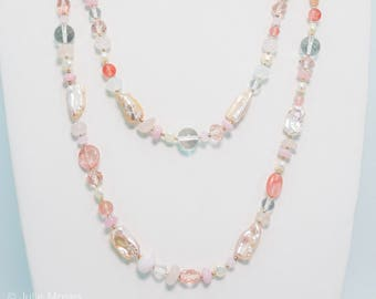 Mixed Quartz and Freshwater Pearl Multi Strand Necklace