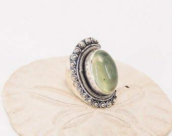 Large Prehinite and Sterling Silver Ring