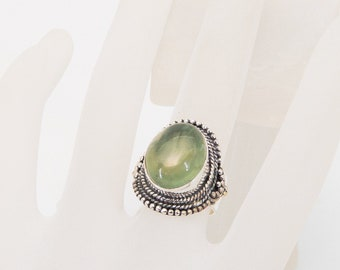 Prehinite and Sterling Silver Ring
