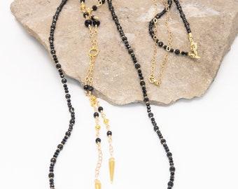 Black Spinel and Gold Vermeil Necklace Set