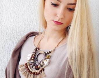 Statement necklace Boho multi strand necklace Original necklace Long necklace Tassel necklace Unique Ethnic necklace Unusual necklace