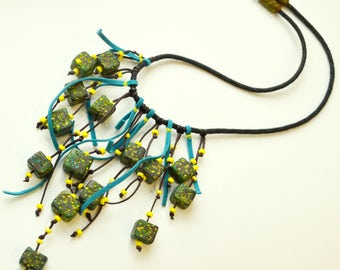 Statement necklace Blue Boho necklace Bib necklace Polymer clay Bohemian jewelry