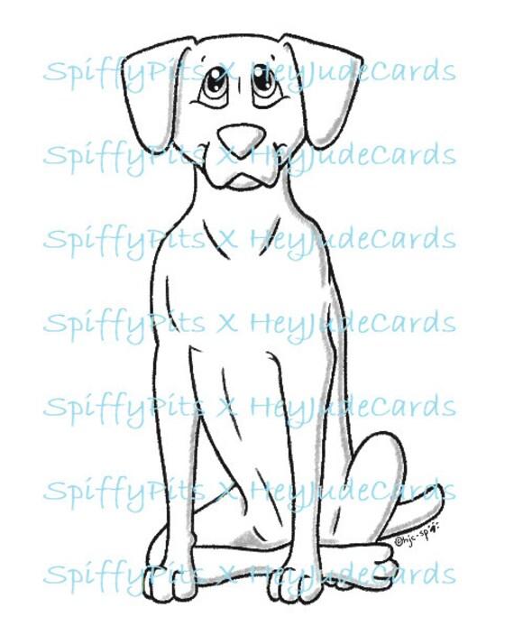Digital Stamp Or Coloring Page Weimaraner Or Vizsla Dog Etsy