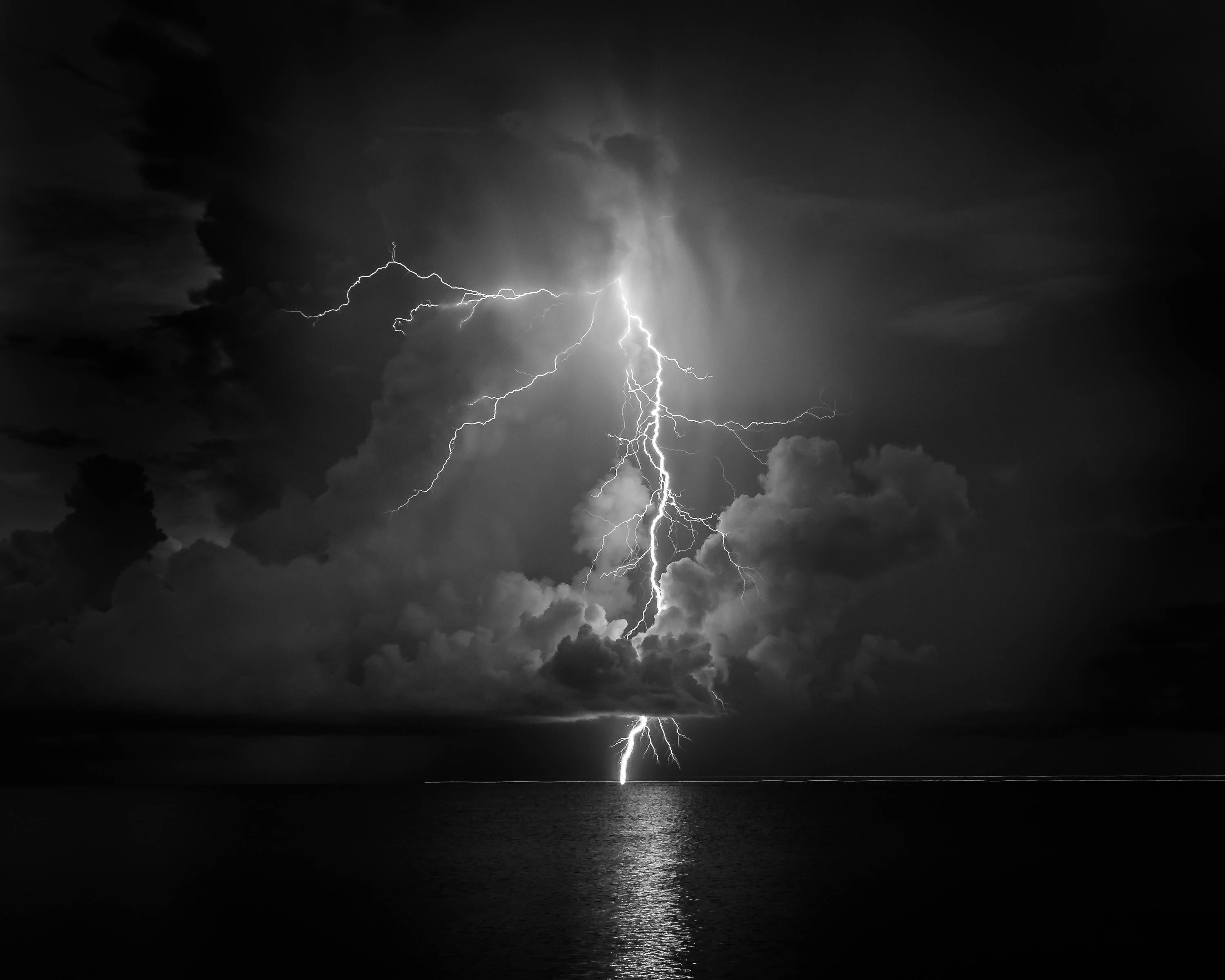 Black And White Beach Lightning