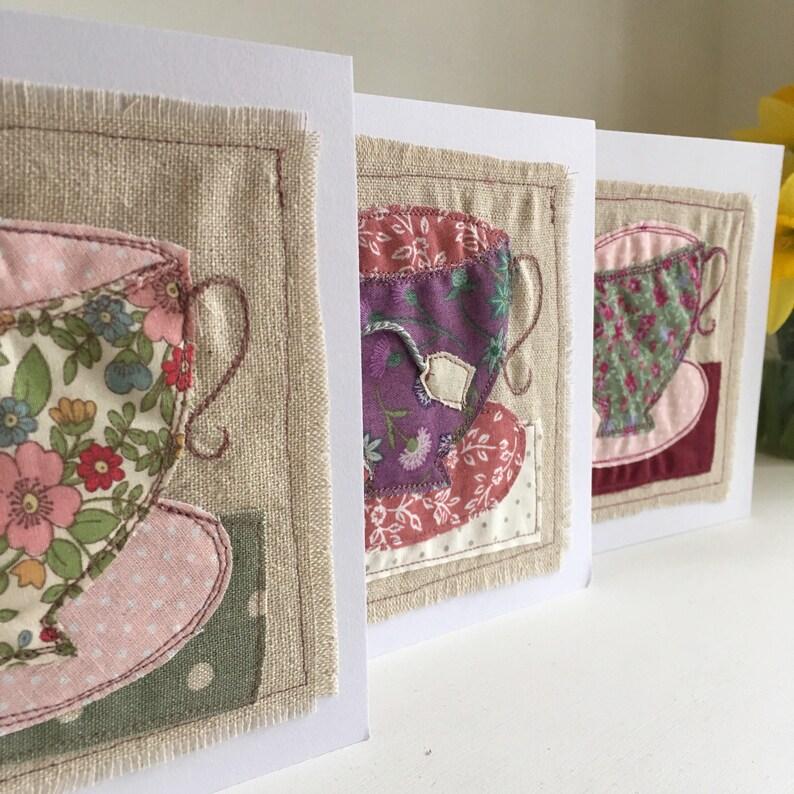 Time for Tea card  textile art card  tea cup  birthday card image 0