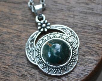 Handmade Green Bloodstone Charm Necklace-Tibetan Silver Gemstone Necklace- Round Bloodstone Necklace- Semi Precious Stone- Birthday Gift