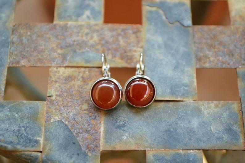 Carnelian gemstone earrings lever-back earrings stainless steel 10mm-12mm everyday earrings