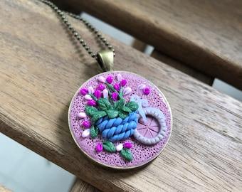 Flower Basket on the Wheel Pendant