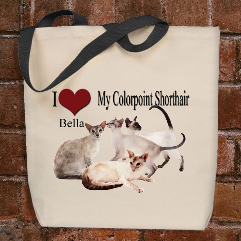 Cat Tote Bag Personalized Colorpoint Shorthair