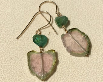 Watermelon tourmaline gold filled earrings