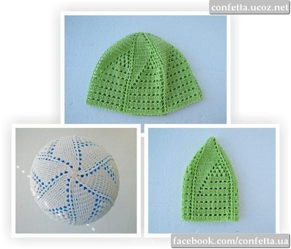Lace Crochet Kufi Hat Unique White Green Cotton Skull Cap Etsy