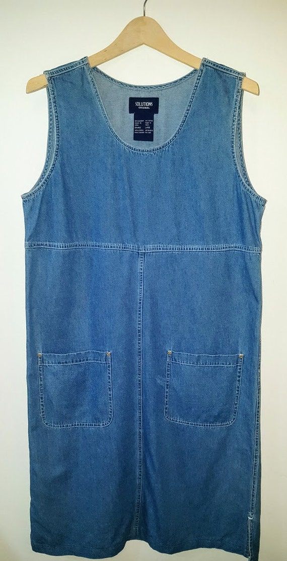 Women's Denim Smock Dress Vintage Chambray - image 1