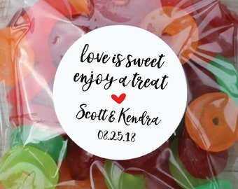 Candy Buffet Stickers, Love is Sweet Labels, Wedding Stickers, Personalized Candy Stickers, Candy Bag Stickers, Candy Buffet Tags