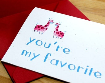 "Giraffe Card, Giraffe Valentine's Card, Love Card, Cute Card, Anniversary Card - ""you're my favorite,"" Card for Him, Card for Her"