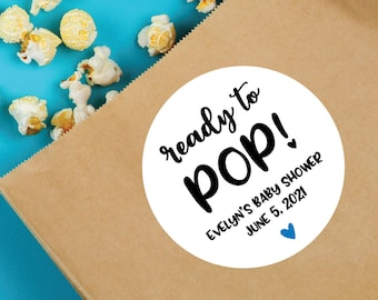 Ready to Pop, Baby Shower Stickers, Baby Shower Sticker Labels, Baby Shower Favors, Baby Shower Decorations, Baby Shower Labels
