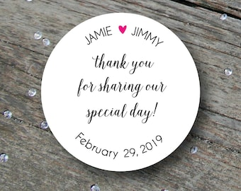 Wedding Thank You Sticker, Wedding Thank You Label, Wedding Stickers, Thank You Sticker, Wedding Labels, Wedding Favor Stickers, Favor Label