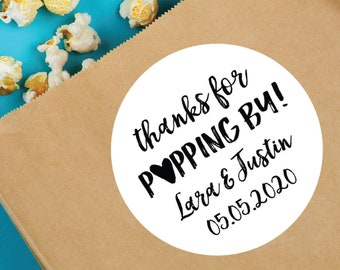 Thanks for Popping By, Thanks for Popping By Bags, Personalized Popcorn Labels, Popcorn Bags, Wedding Popcorn, Wedding Favour, Wedding Favor