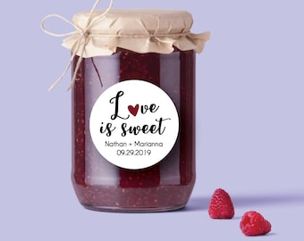 Love is Sweet Stickers, Love is Sweet Favors, Love is Sweet Tags, Jam Wedding Favors, Sweet Wedding Favor, Candy Wedding Favors, Candy Label