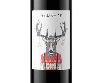 Christmas Wine Bottle Label, Hipster Wine Bottle Label, Festive AF, Christmas Gift, Host Gift, Deer Gift, Gifts for Men, Easy Gift
