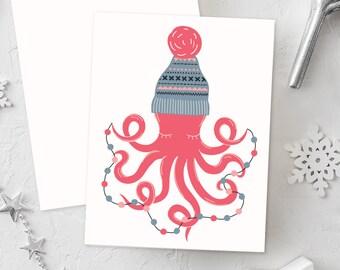 Ocean Christmas Cards, Hipster Christmas Cards, Sea Christmas, Ocean Christmas Decor, Cute Christmas Cards, Christmas Note, Ocean Friends