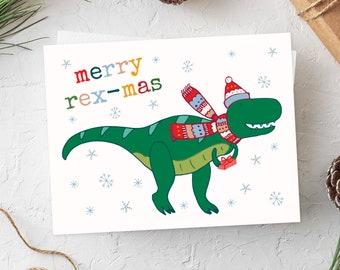 T-Rex Christmas Cards, Rex-Mas Cards, Xmas Cards, Choose Your Set, Dinosaur Christmas Card, Pun Dinosaur Cards, Funny Christmas Cards, T-Rex