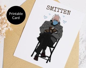 Printable Bernie Card, Bernie Meme Card, Bernie Valentine, Bernie Valentines Day, Smitten Card, Bernie Valentine Card, Bernie Card, S-mitten
