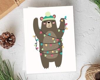 Bear Christmas Cards, Christmas Card Set, Forest Christmas, Woodland Cards, Christmas Card, Cute Christmas Cards, Set of Cards, Card Set