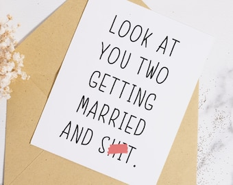 Married And Shit Card, Funny Wedding Card, Quirky Wedding Card, Unique Wedding Card, Swear Wedding Card, Mature Card, Mature Wedding Card
