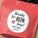 Thanks for Bean Here, Coffee Bean Favor, Coffee Favour, Coffee Bean Sticker, Coffee Favor Labels, Coffee Favor Stickers, Coffee Stickers