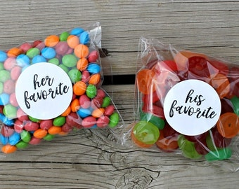 His and Her Stickers, His Favorite Her Favorite, His Favourite Her Favourite Stickers, Wedding Favor, His and Hers, Wedding Candy Labels